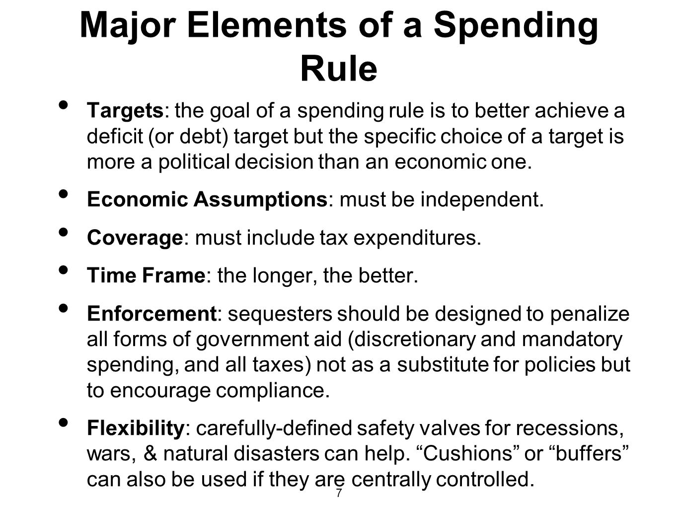 Major Elements of a Spending Rule