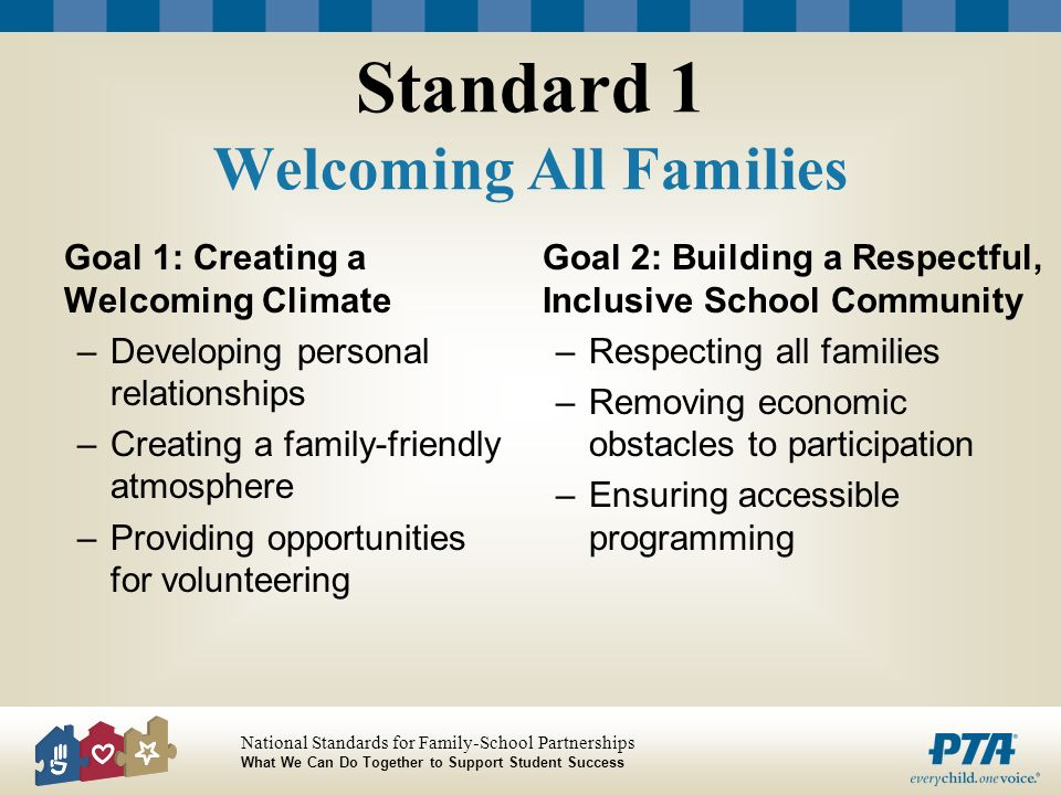 Standard 1 Welcoming All Families