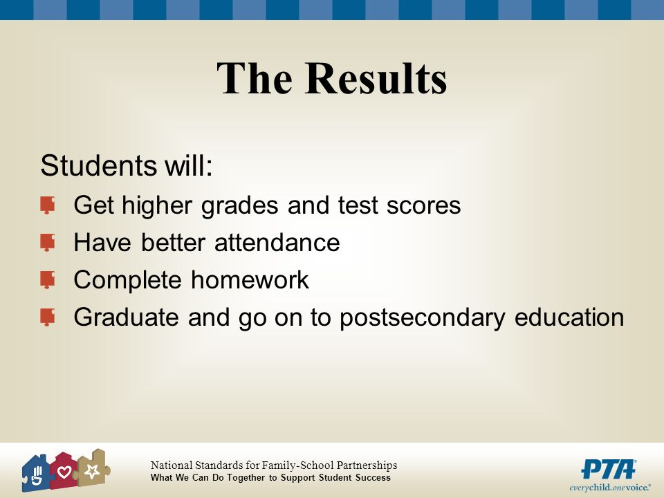 The Results Students will: Get higher grades and test scores