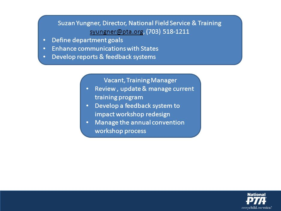 Suzan Yungner, Director, National Field Service & Training