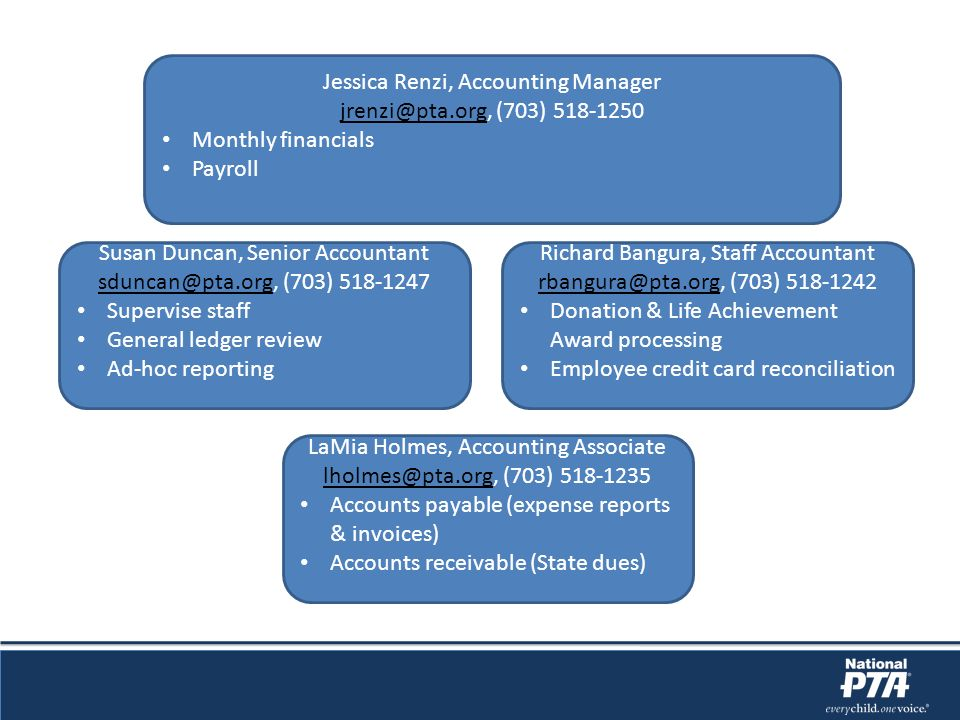 Jessica Renzi, Accounting Manager jrenzi@pta.org, (703) 518-1250