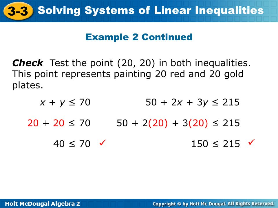 Example 2 Continued Check Test the point (20, 20) in both inequalities. This point represents painting 20 red and 20 gold plates.