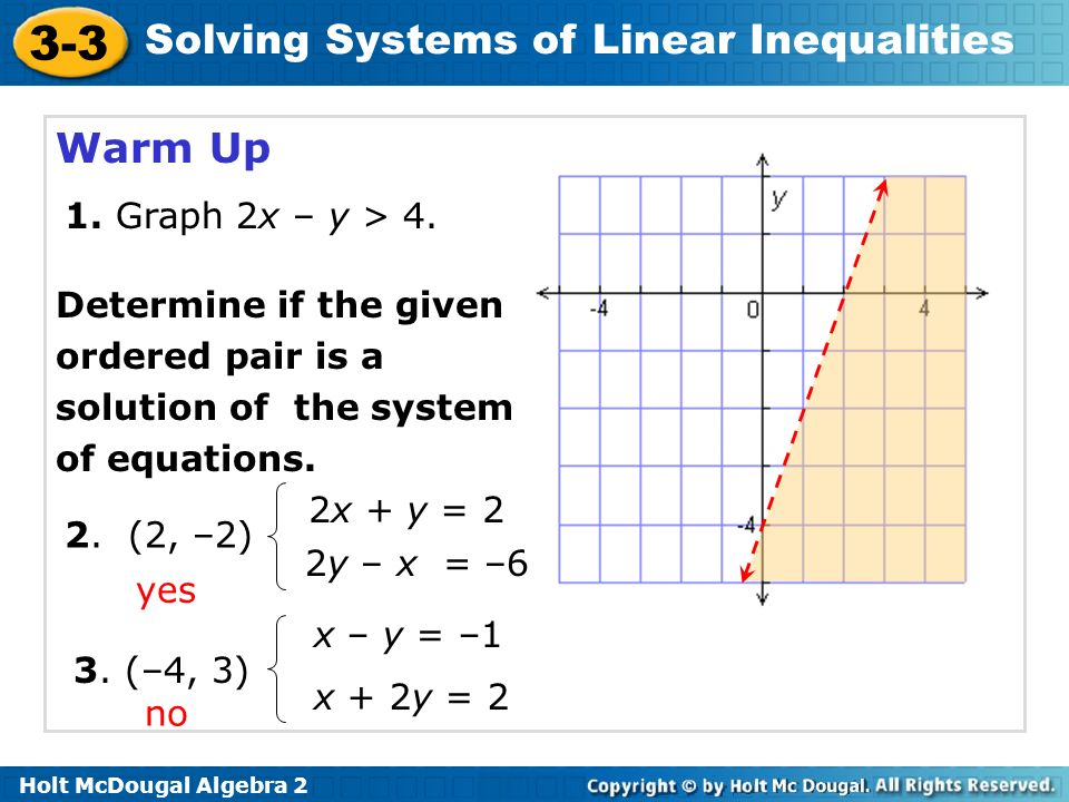 Warm Up 1. Graph 2x – y > 4. Determine if the given