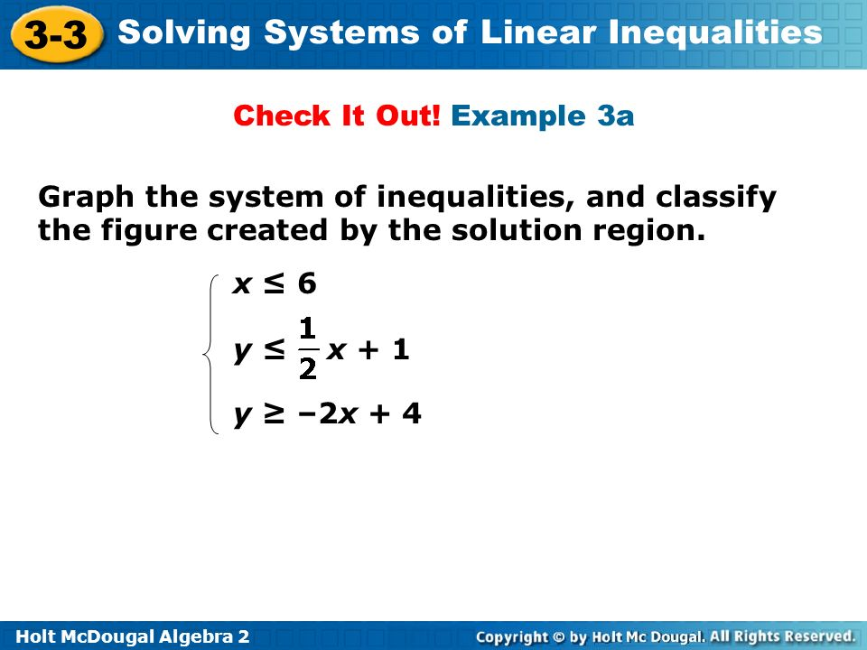 Check It Out! Example 3a Graph the system of inequalities, and classify the figure created by the solution region.
