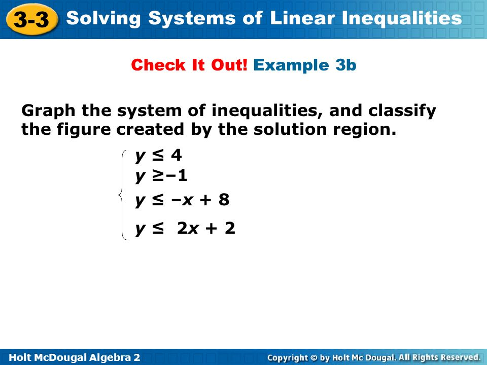 Check It Out! Example 3b Graph the system of inequalities, and classify the figure created by the solution region.