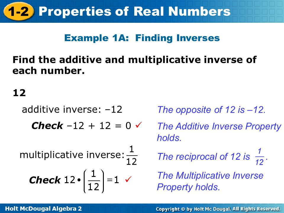 Example 1A: Finding Inverses