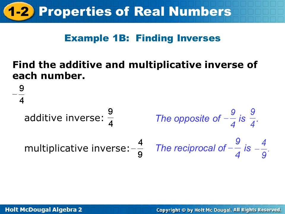 Example 1B: Finding Inverses