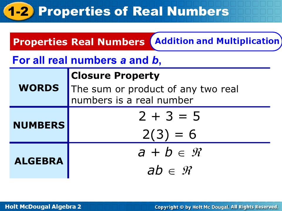 2 + 3 = 5 2(3) = 6 a + b   ab   For all real numbers a and b,