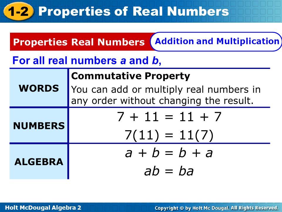 7 + 11 = 11 + 7 7(11) = 11(7) a + b = b + a ab = ba