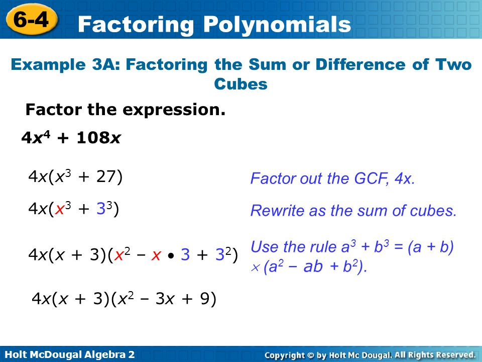 Example 3A: Factoring the Sum or Difference of Two Cubes