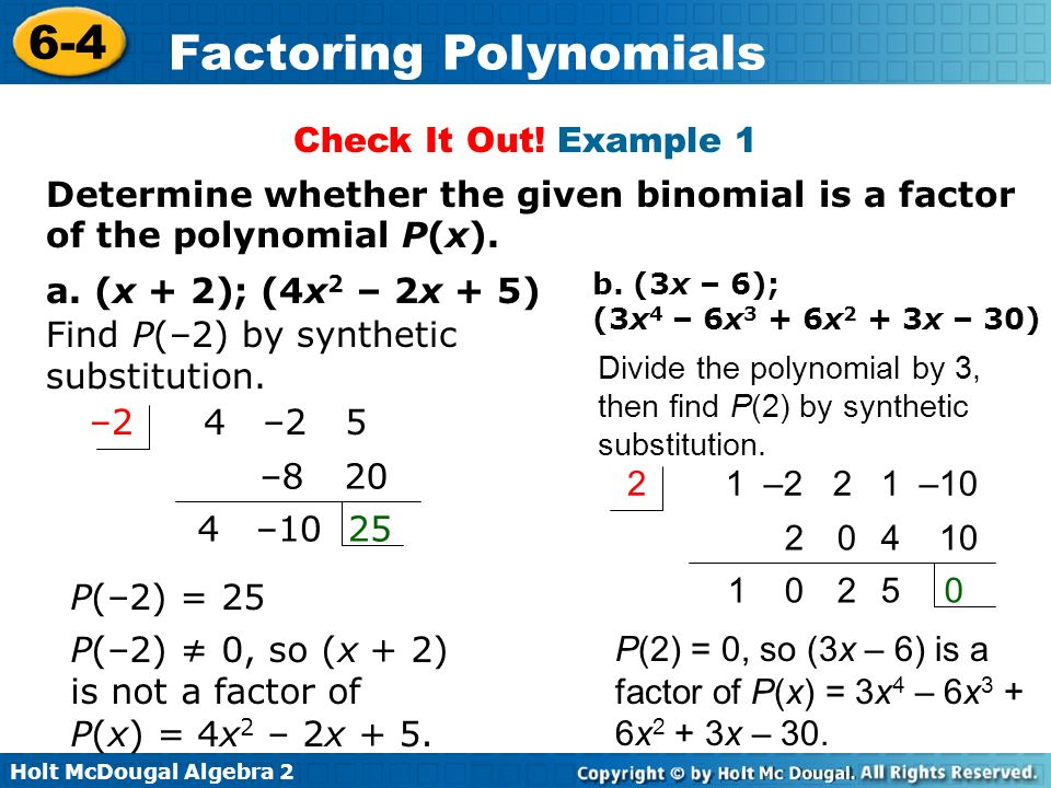 Find P(–2) by synthetic substitution.