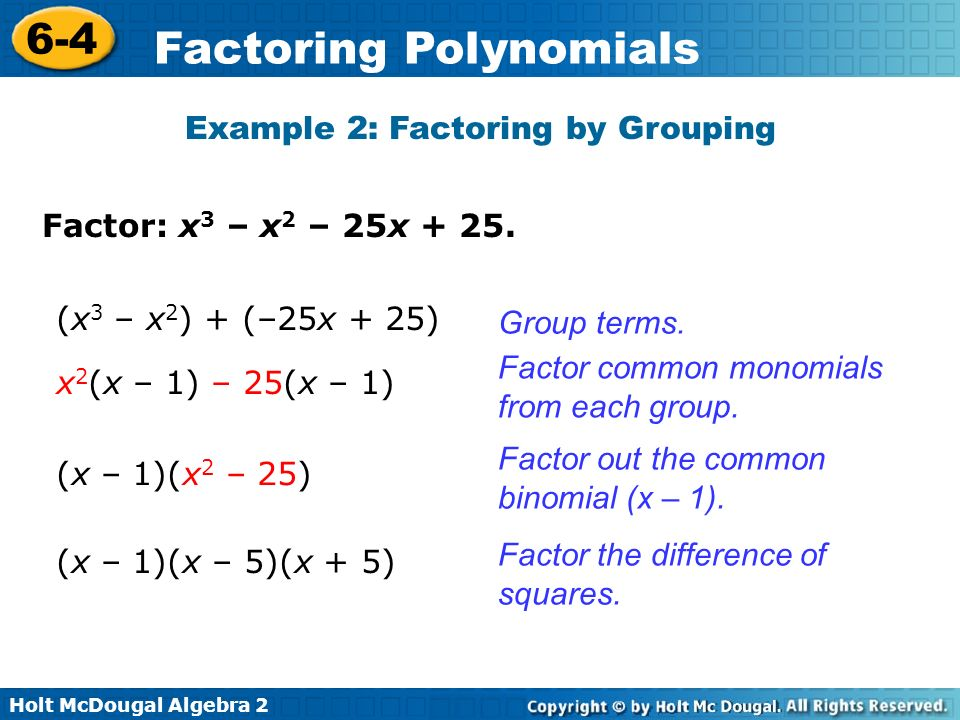 Example 2: Factoring by Grouping