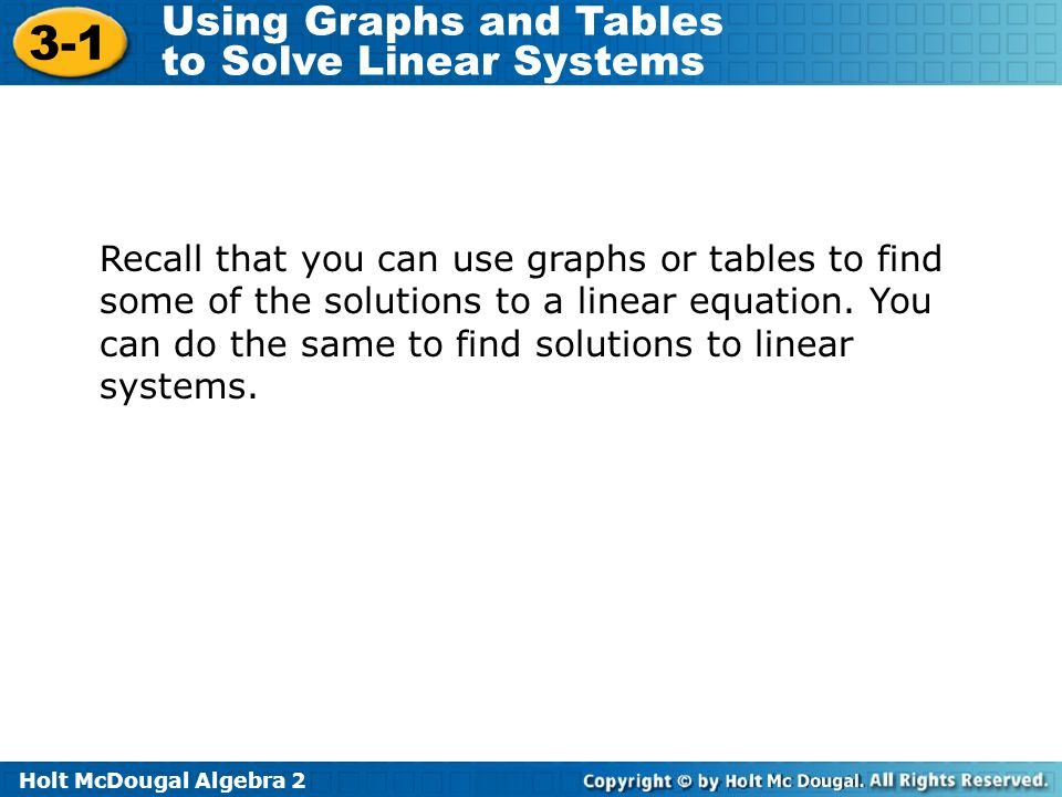 Recall that you can use graphs or tables to find some of the solutions to a linear equation.