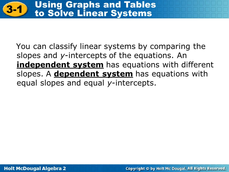 You can classify linear systems by comparing the slopes and y-intercepts of the equations.