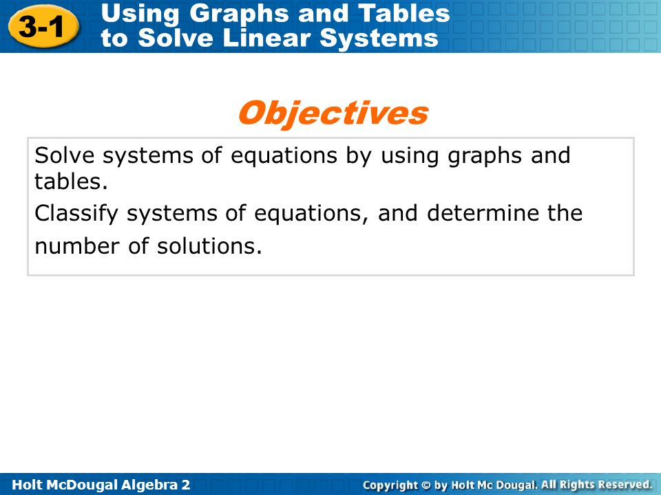 Objectives Solve systems of equations by using graphs and tables.