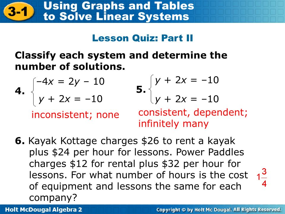 Lesson Quiz: Part II Classify each system and determine the number of solutions. –4x = 2y – 10. y + 2x = –10.