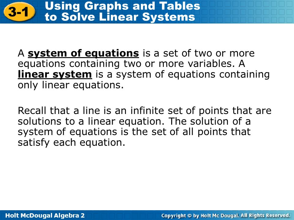 A system of equations is a set of two or more equations containing two or more variables. A linear system is a system of equations containing only linear equations.