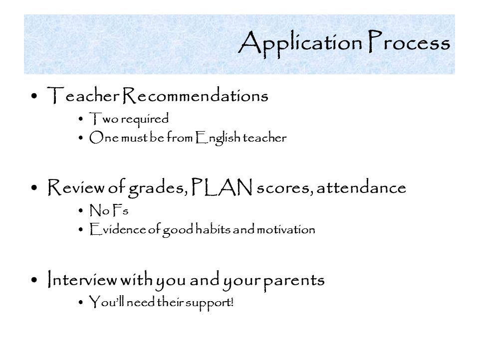 Application Process Teacher Recommendations