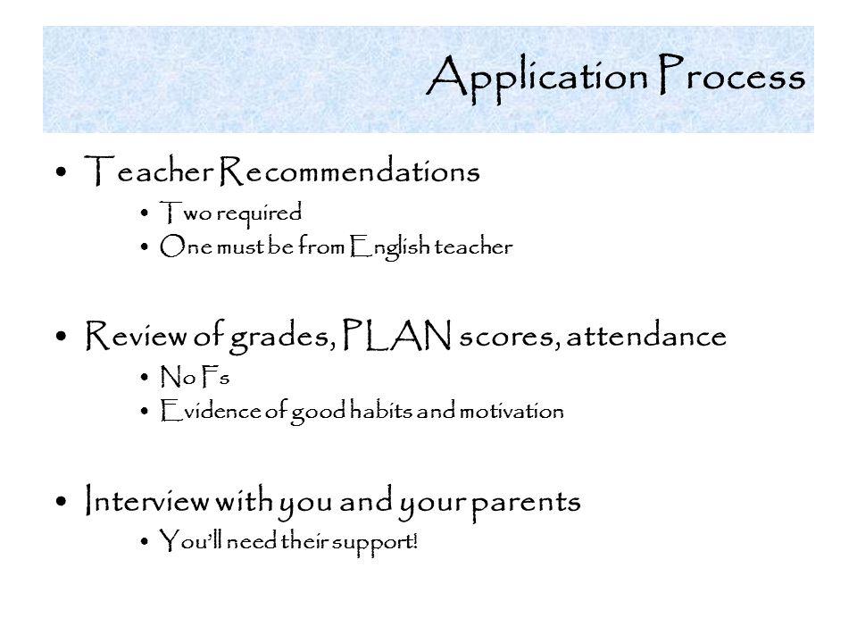 Application Process Teacher Recommendations