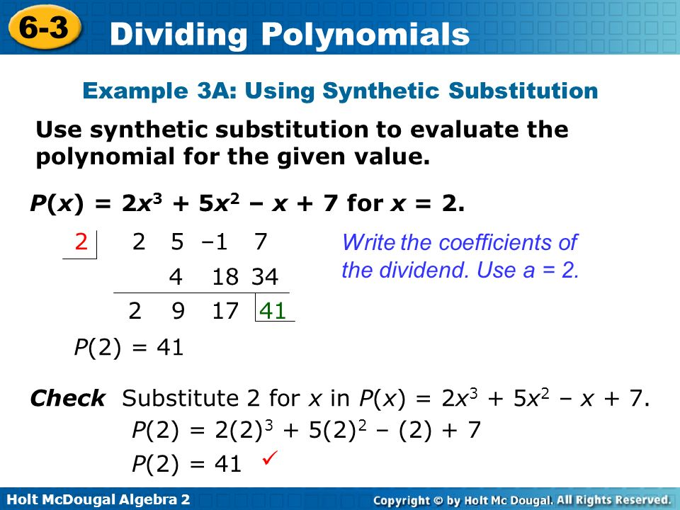 Example 3A: Using Synthetic Substitution