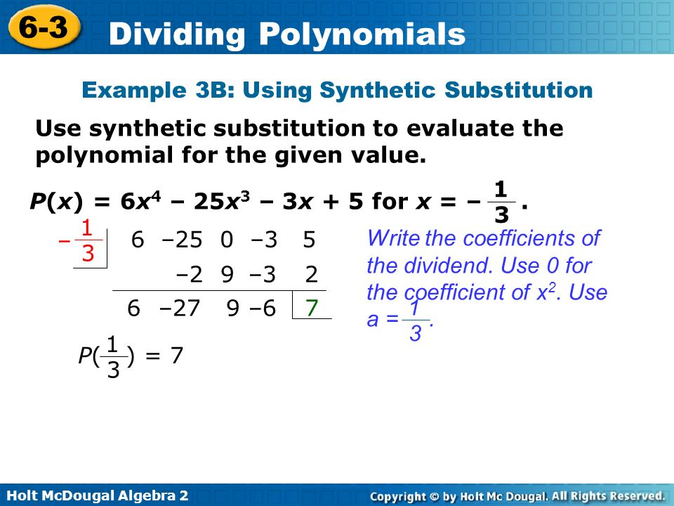 Example 3B: Using Synthetic Substitution