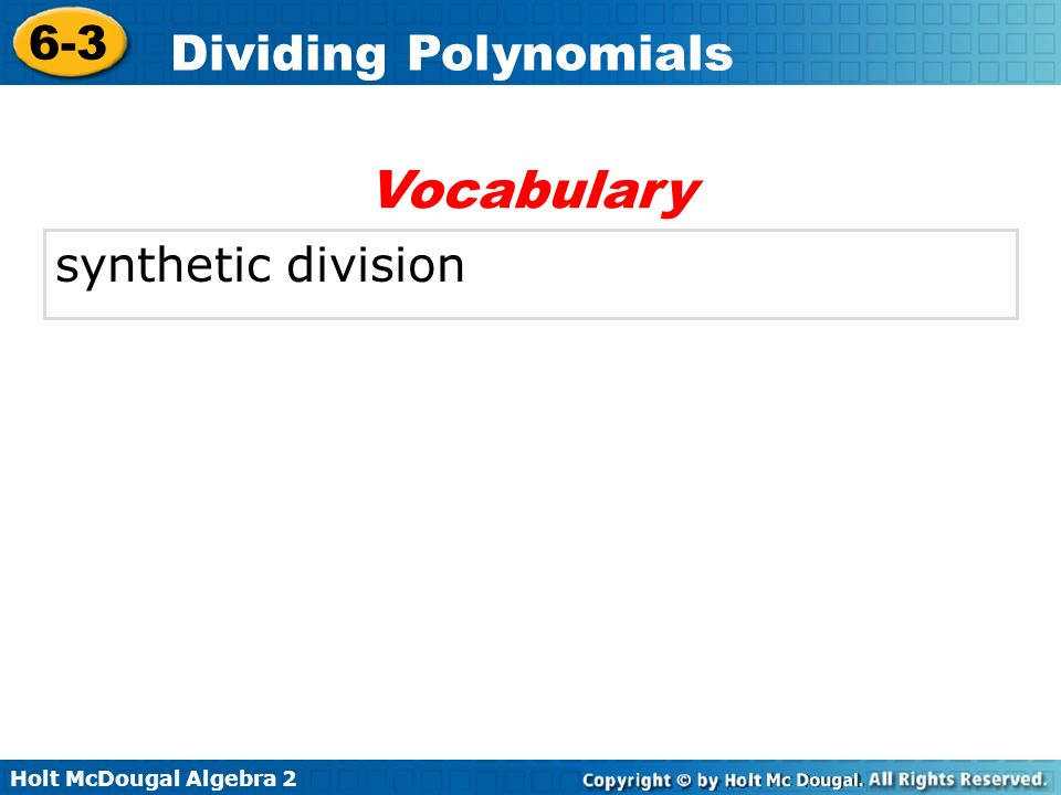 Vocabulary synthetic division