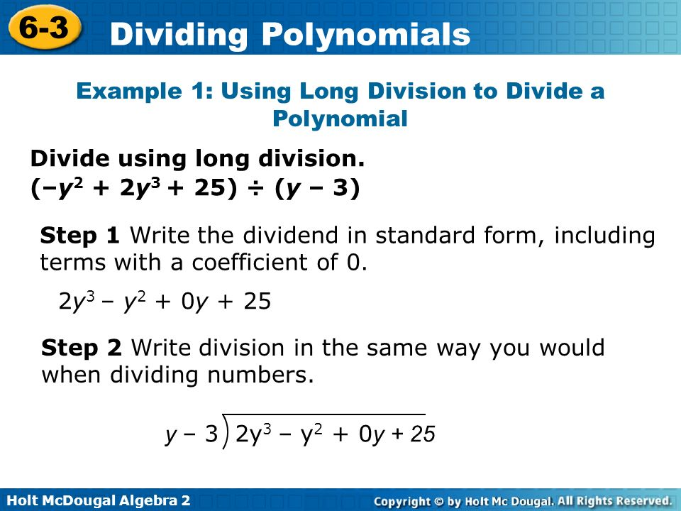 Example 1: Using Long Division to Divide a Polynomial