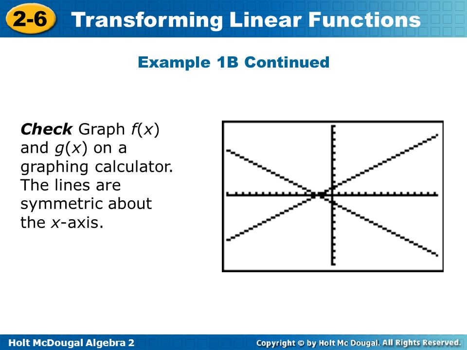 Example 1B Continued Check Graph f(x) and g(x) on a graphing calculator.