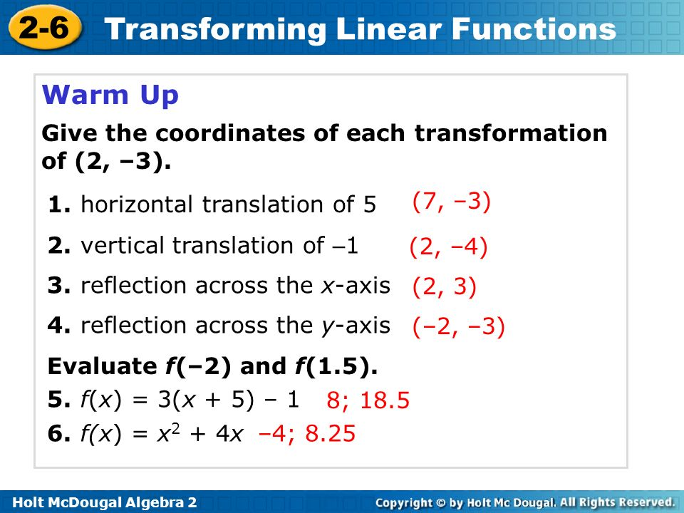 Warm Up Give the coordinates of each transformation of (2, –3).