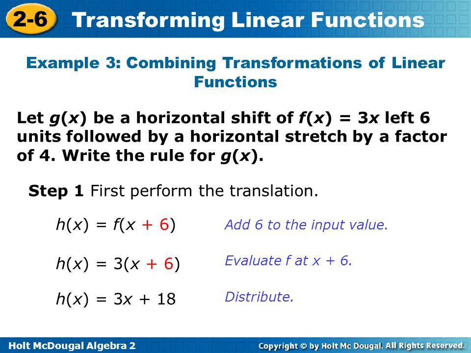 Example 3: Combining Transformations of Linear Functions