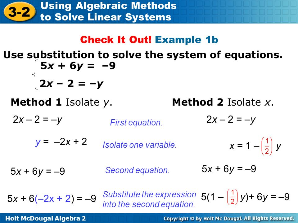 Use substitution to solve the system of equations. 5x + 6y = –9