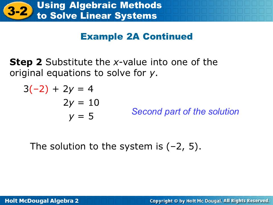 Example 2A Continued Step 2 Substitute the x-value into one of the original equations to solve for y.