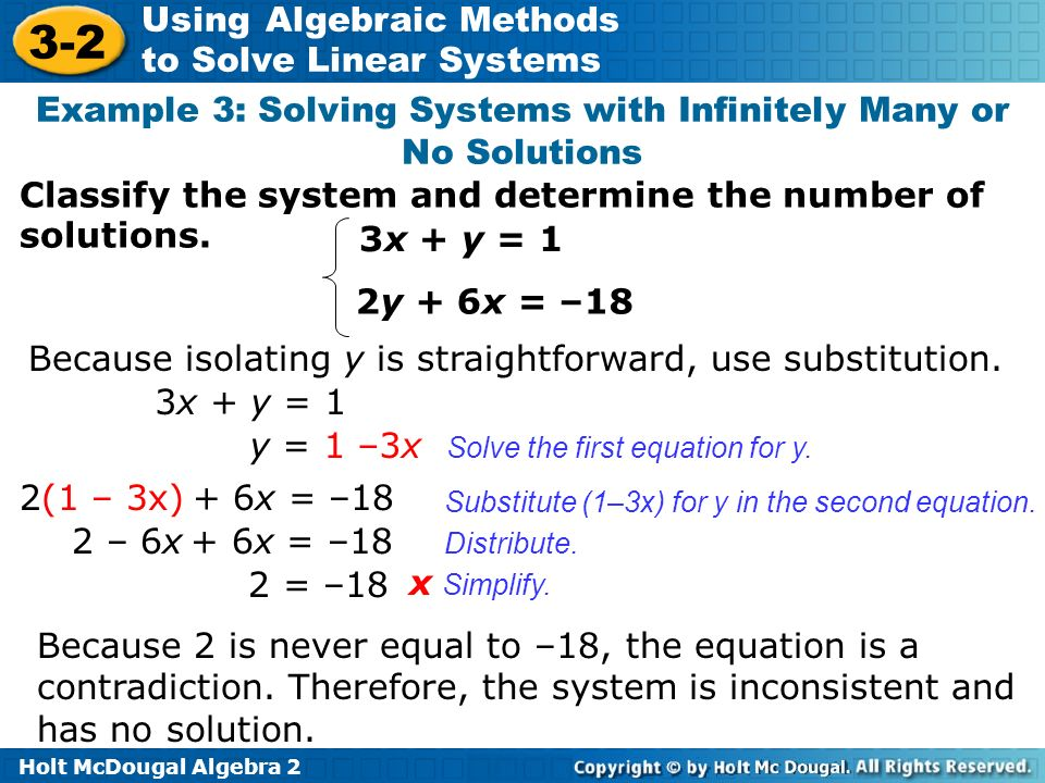 Example 3: Solving Systems with Infinitely Many or No Solutions