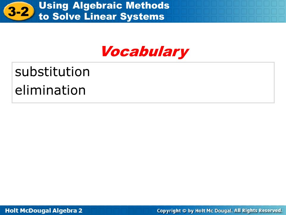 Vocabulary substitution elimination