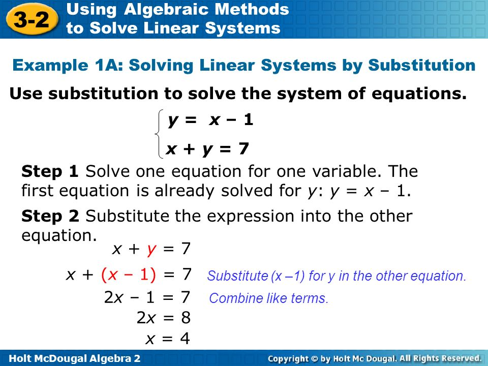 Example 1A: Solving Linear Systems by Substitution