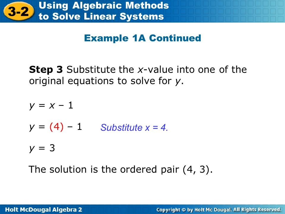 Example 1A Continued Step 3 Substitute the x-value into one of the original equations to solve for y.