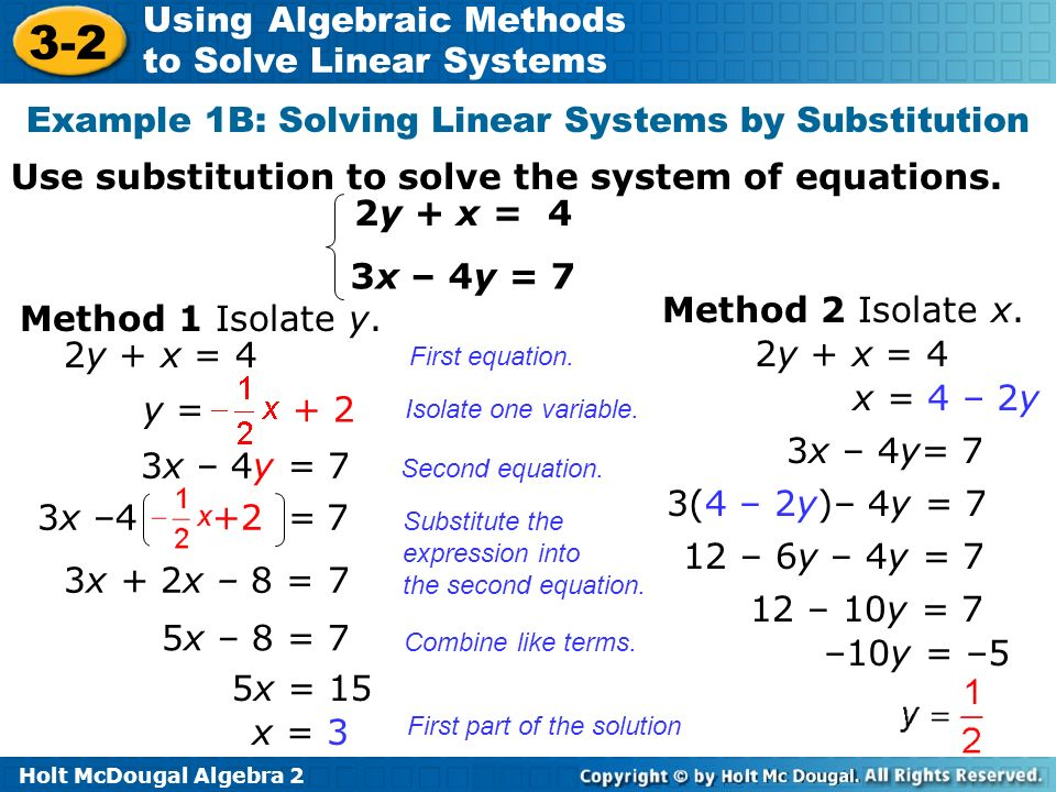 Example 1B: Solving Linear Systems by Substitution