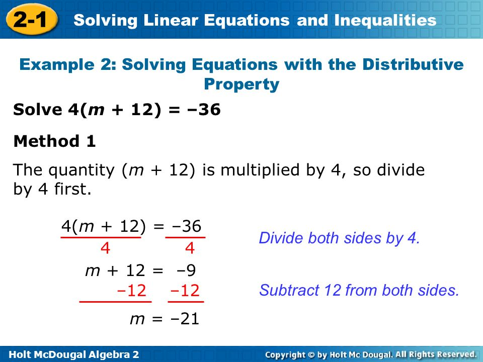 Example 2: Solving Equations with the Distributive Property