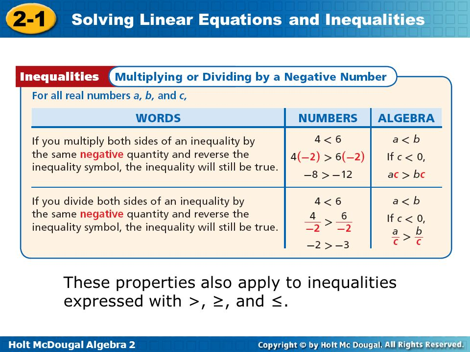 These properties also apply to inequalities expressed with >, ≥, and ≤.