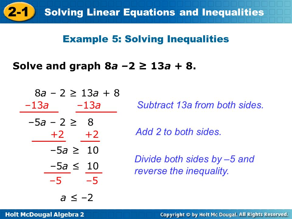 Example 5: Solving Inequalities
