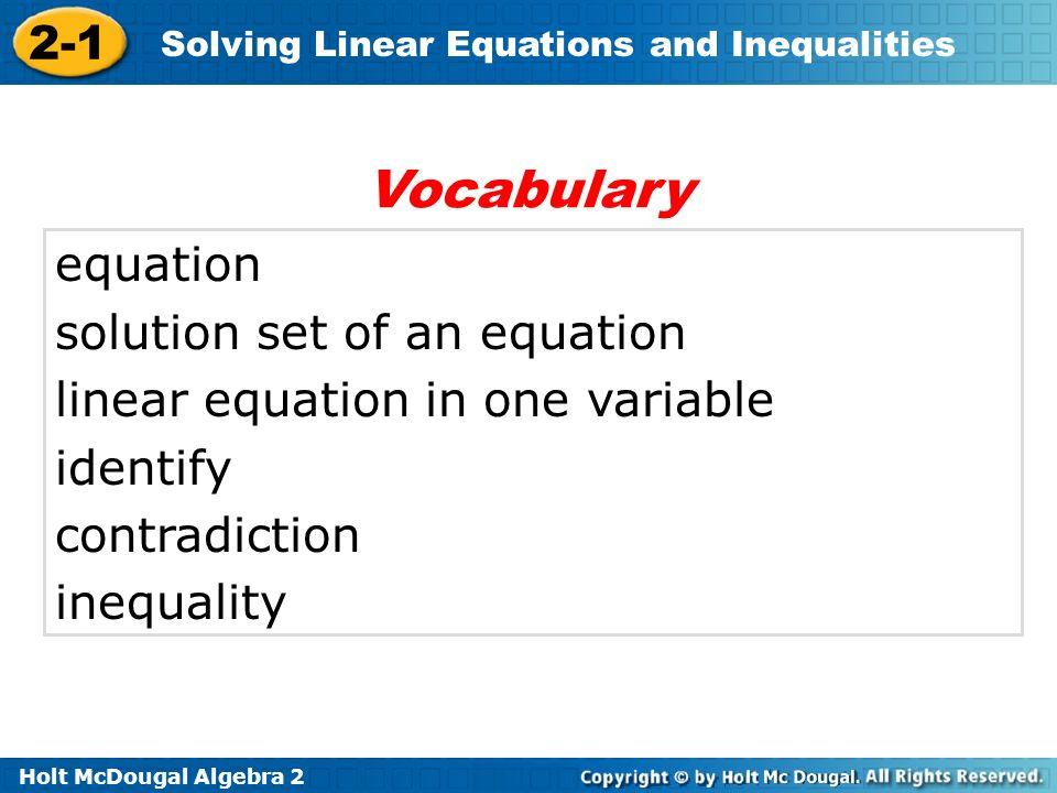 Vocabulary equation solution set of an equation