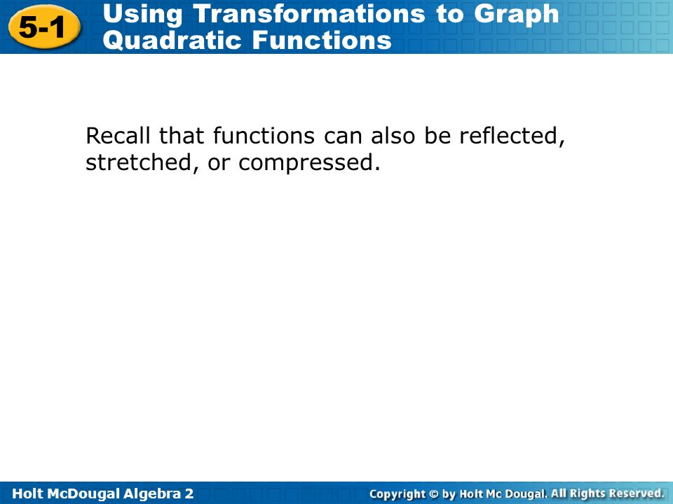 Recall that functions can also be reflected, stretched, or compressed.