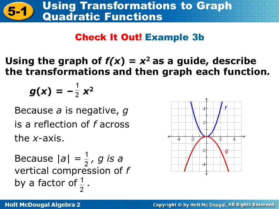 Check It Out! Example 3b Using the graph of f(x) = x2 as a guide, describe the transformations and then graph each function.