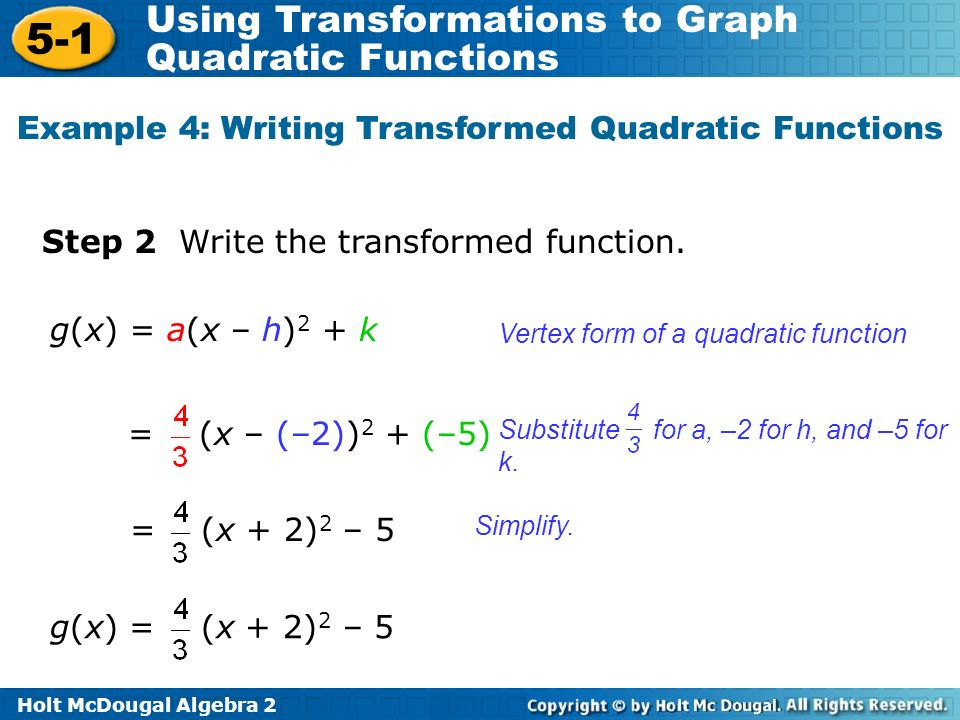 Example 4: Writing Transformed Quadratic Functions