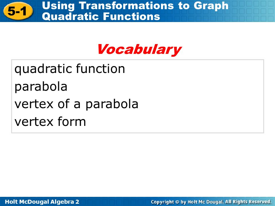 Vocabulary quadratic function parabola vertex of a parabola
