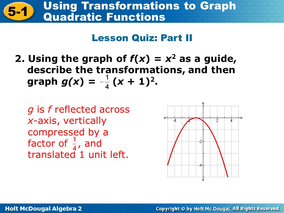 Lesson Quiz: Part II 2. Using the graph of f(x) = x2 as a guide, describe the transformations, and then graph g(x) = (x + 1)2.