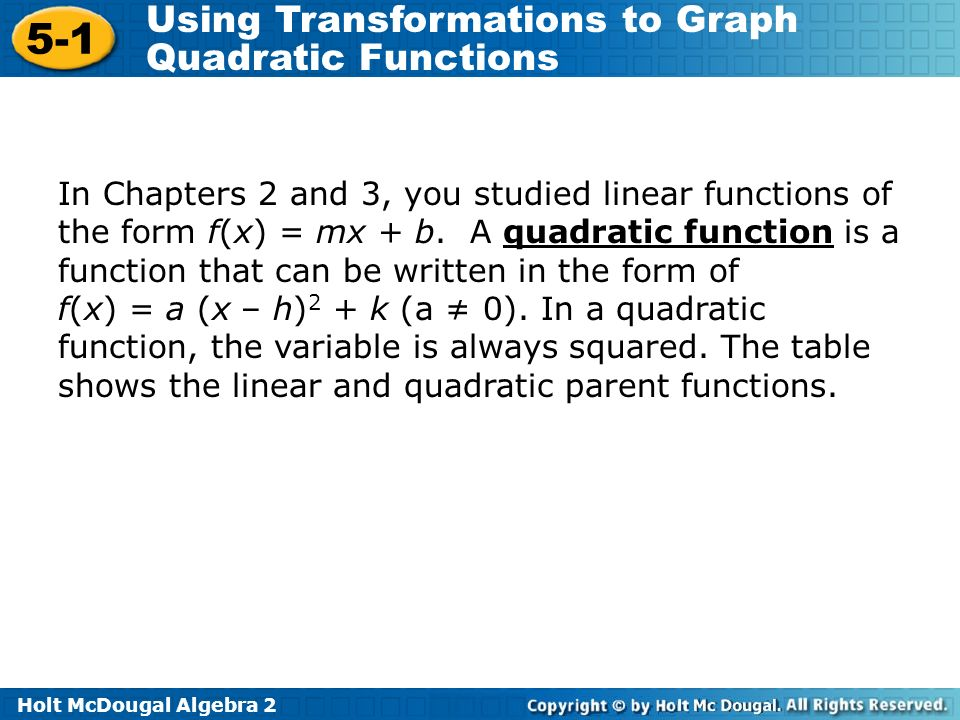 In Chapters 2 and 3, you studied linear functions of the form f(x) = mx + b. A quadratic function is a function that can be written in the form of