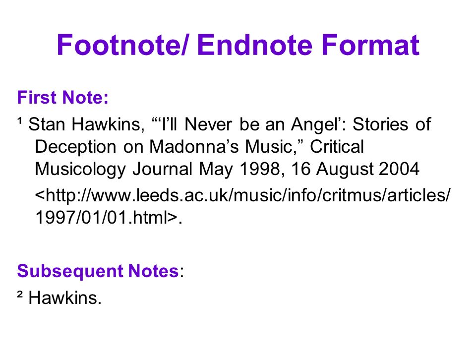 Footnote/ Endnote Format