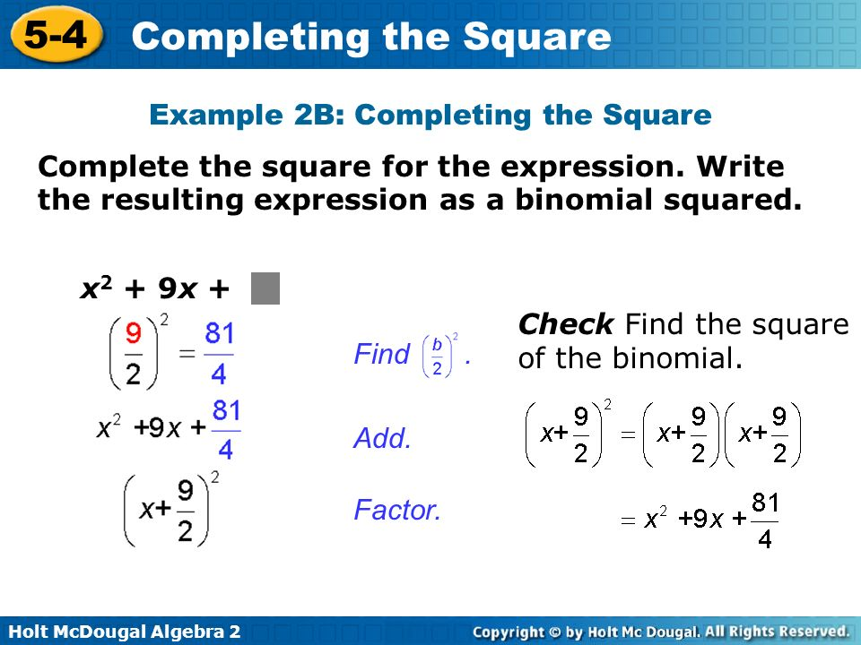 Example 2B: Completing the Square