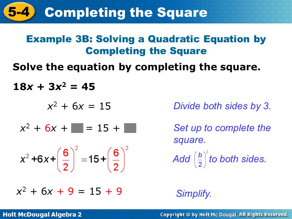 Example 3B: Solving a Quadratic Equation by Completing the Square
